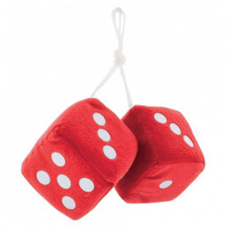 """United Pacific  3"""" X 3"""" Classic Fuzzy Dice, Red (Pair)"""