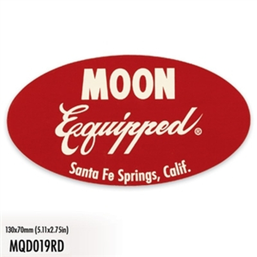 Mooneyes Equipped Oval Decal, Red