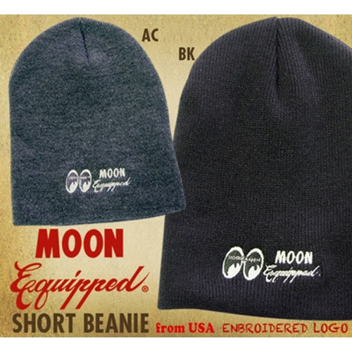 Mooneyes Equipped Embroidered Short Beanie, Gray