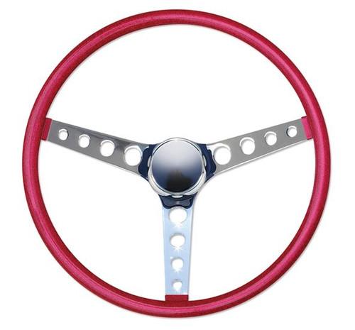 """Mooneyes California Metal Flake Finger Grip: 4-Hole Spoke 15"""" Steering Wheel, Red"""
