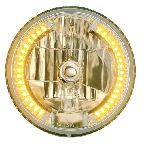 """United Pacific 7"""" Crystal Headlight w/ 34 LED Position Light,  Amber LED"""