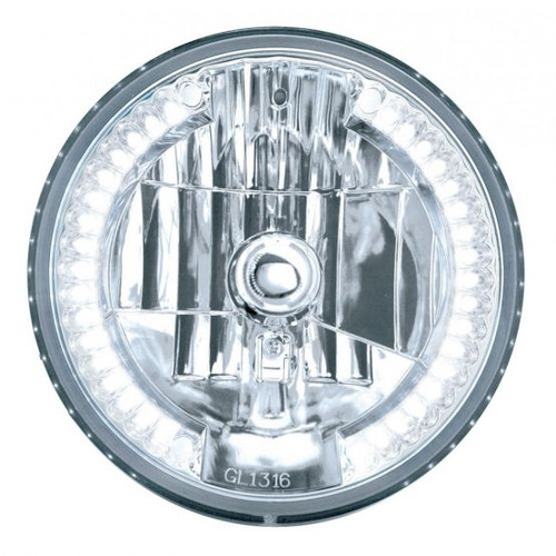 """United Pacific 7"""" Crystal Headlight w/ 34 LED Position Light, White LED"""