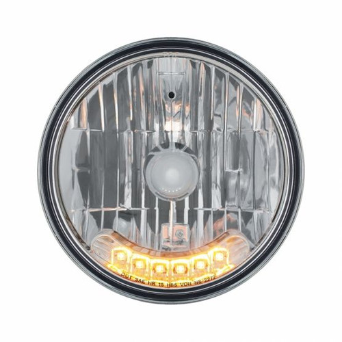 """United Pacific 7"""" Crystal Headlights w/ 6 Amber LED Position Lights"""