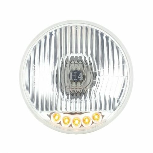 """United Pacific 5 3/4"""" Crystal Halogen Headlight w/ 5 LED Position Lights"""