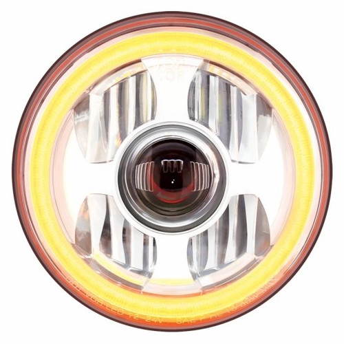 """United Pacific 7"""" High Power LED Projection Headlight w/ Dual Function LED Halo Ring"""