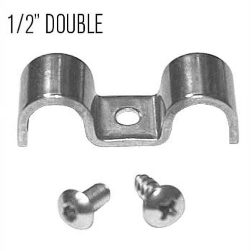 "Kugel Komponents 1/2"" X 1/2"" Double Line Clamps, 6 Pack"