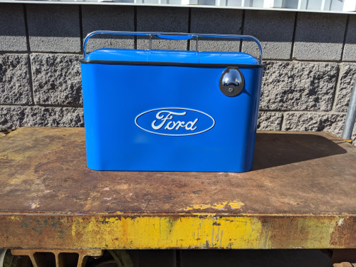 Vintage Ford Beverage Cooler, Blue