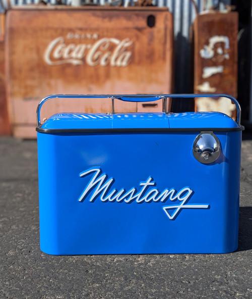 Vintage Mustang Beverage Cooler, Blue