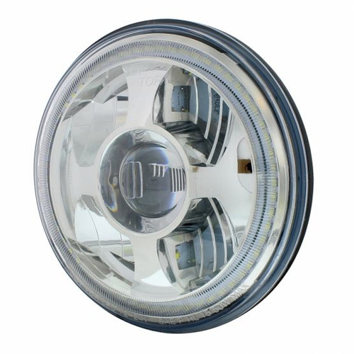 """United Pacific  7"""" High Power LED Projection Headlight With Dual Function LED Halo Ring"""