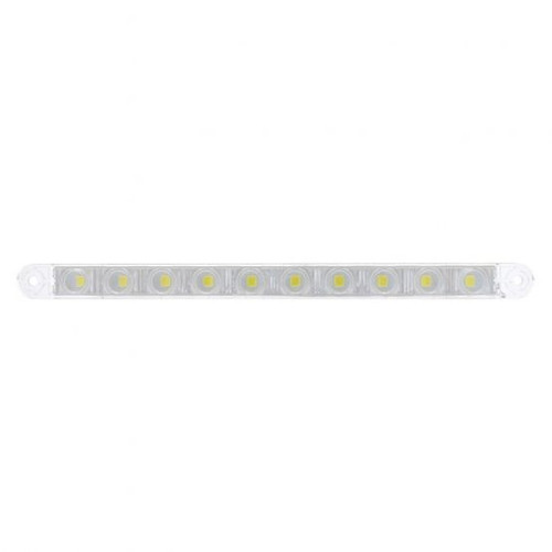 """United Pacific  10 LED 9"""" Dual Function Light Bar - White LED/Clear Lens"""