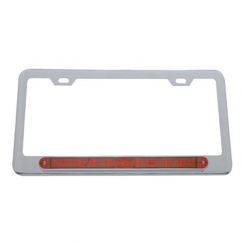 """United Pacific  Chrome License Plate Frame w/ 10 LED 9"""" Light Bar - Red LED/Red Lens"""