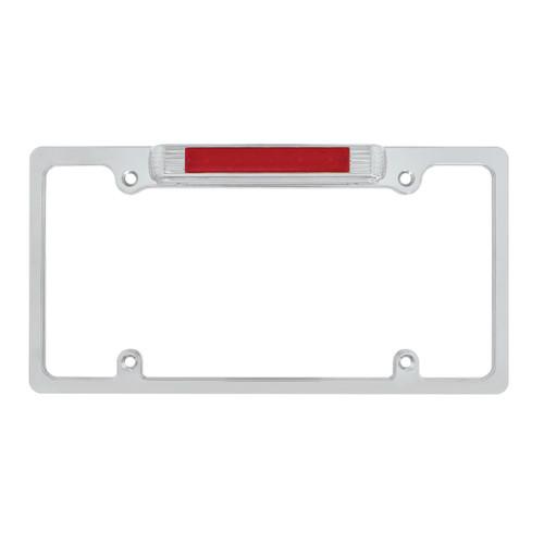 United Pacific  Chrome License Plate Frame With 3rd Brake Light - Red LED/Red Lens