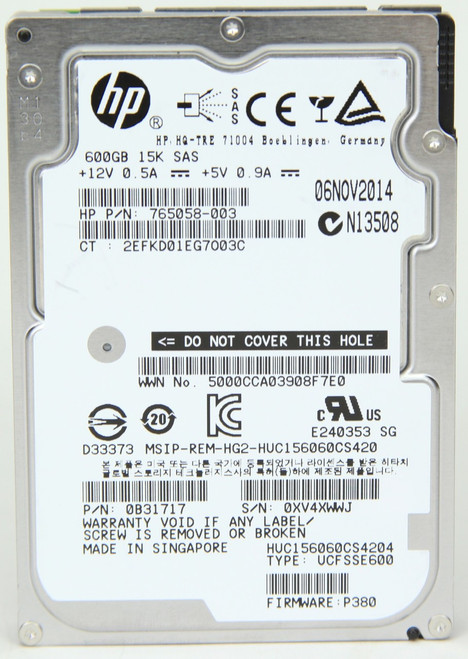 HP 600GB SAS Hard Drive