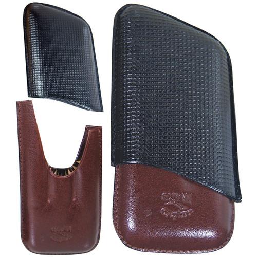 Cuba Leather Cigar Holder Case Black Burgundy 3 Finger