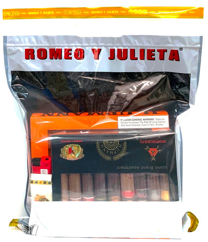ICONIC SURVIVAL KIT2, 9= Romeo y Julieta,  H. Upmann & Montecristo Cigars+matches+lighter+ashtray in a sealed Bag