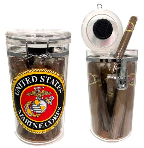 """Marine Corps Acrylic Cigar """"JarHead"""" Humidor Humidifier + 20 Marine Churchill Cigars"""