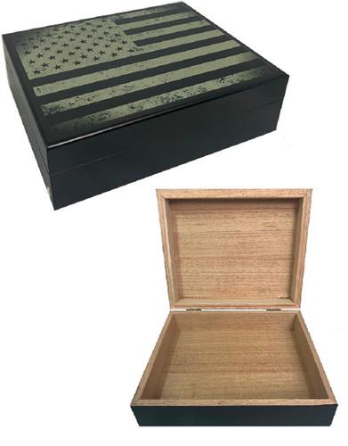 Cigar Humidor USA Flag Black Print