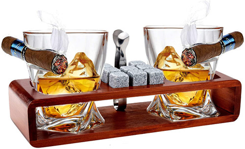 Whiskey Glasses With Side Mounted Cigar + Whisky Chilling Stones and accessories on Wooden Tray