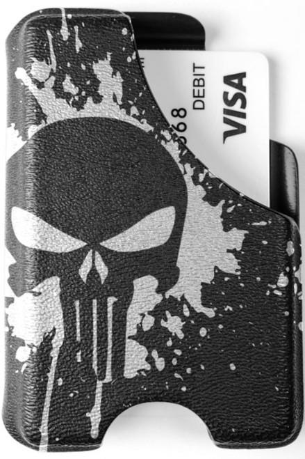 Minimalist Wallet - Punisher Skull Splatter White