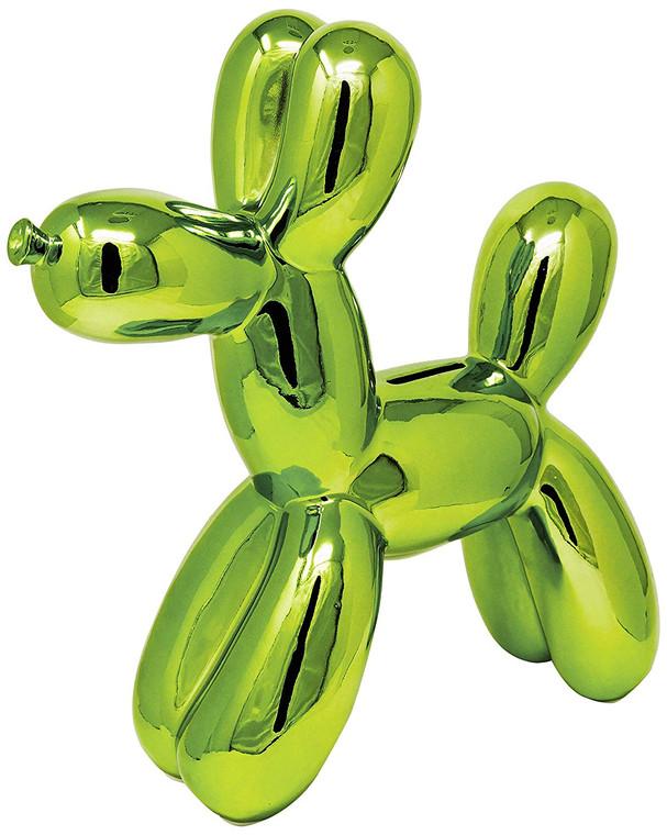 "Interior Illusions Plus Green Balloon Dog Bank  - 12"" tall"