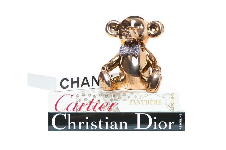 "Interior Illusions Plus Bronze Bear with Rhinestone Bow Tie Bank - 8.5"" tall"