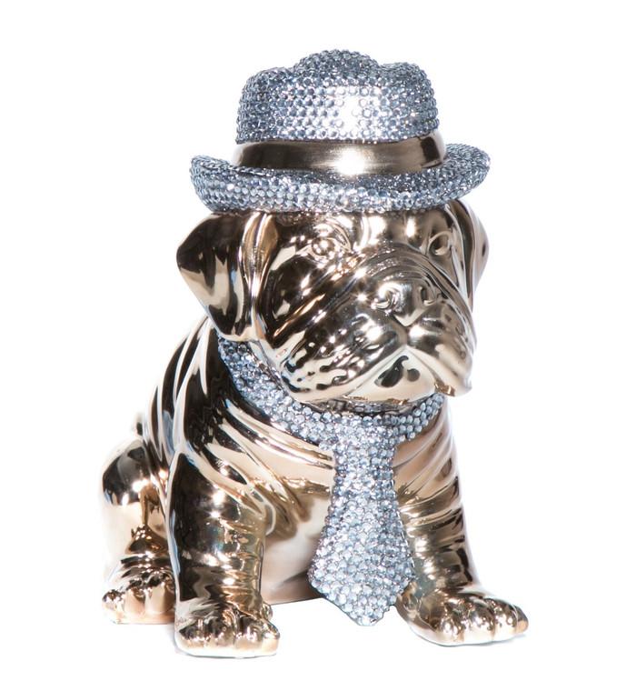 "Interior Illusions Plus Bronze Bulldog with Rhinestone Hat & Tie - 10"" Tall"