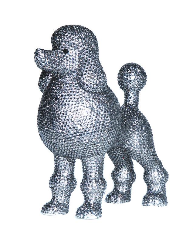 "Interior Illusions Plus Graphite Rhinestone Poodle Decoration - 11"" tall"