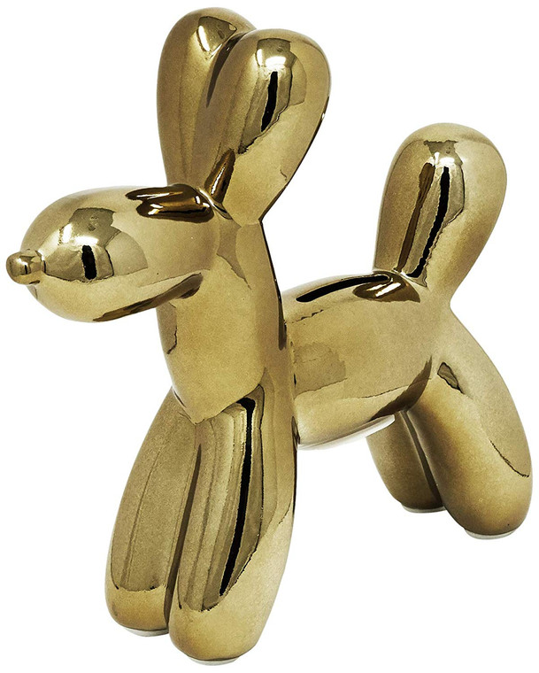 "Interior Illusions Plus Bronze Mini Balloon Dog Bank 7.5"" tall"