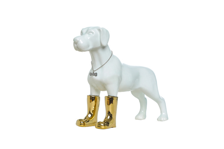 "Interior Illusions Plus Dog with Gold Boots Bank - 11"" tall"