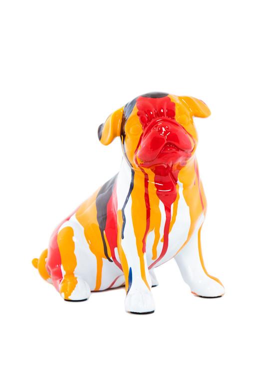 "Interior Illusions Plus Bulldog Sitting Splatter Art Dog - 7.5"" tall"