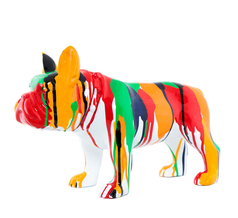 "Interior Illusions Plus Standing Bulldog Splatter Art Dog - 13.75"" long"