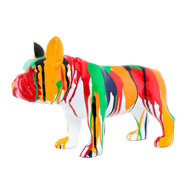 "Interior Illusions Plus Standing Bulldog Splatter Art Dog - 13.75"" long"