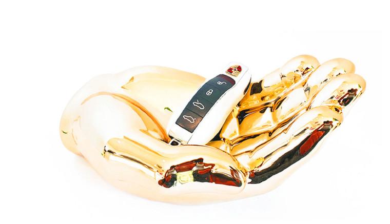 "Interior Illusions Plus Gold Hand Tray Decoration - 7.5"" long"
