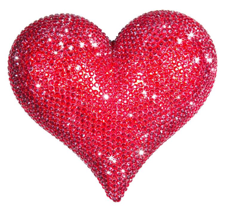 """Interior Illusions Plus Red Rhinestone Love Heart - 7"""" wide."""