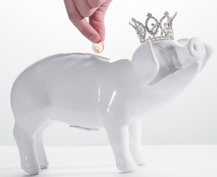 "Interior Illusions Plus White Piggy Bank with Tiara - 10.5"" long"