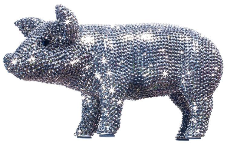 """Interior Illusions Plus Graphite Rhinestone Piggy Bank - 12"""" long"""
