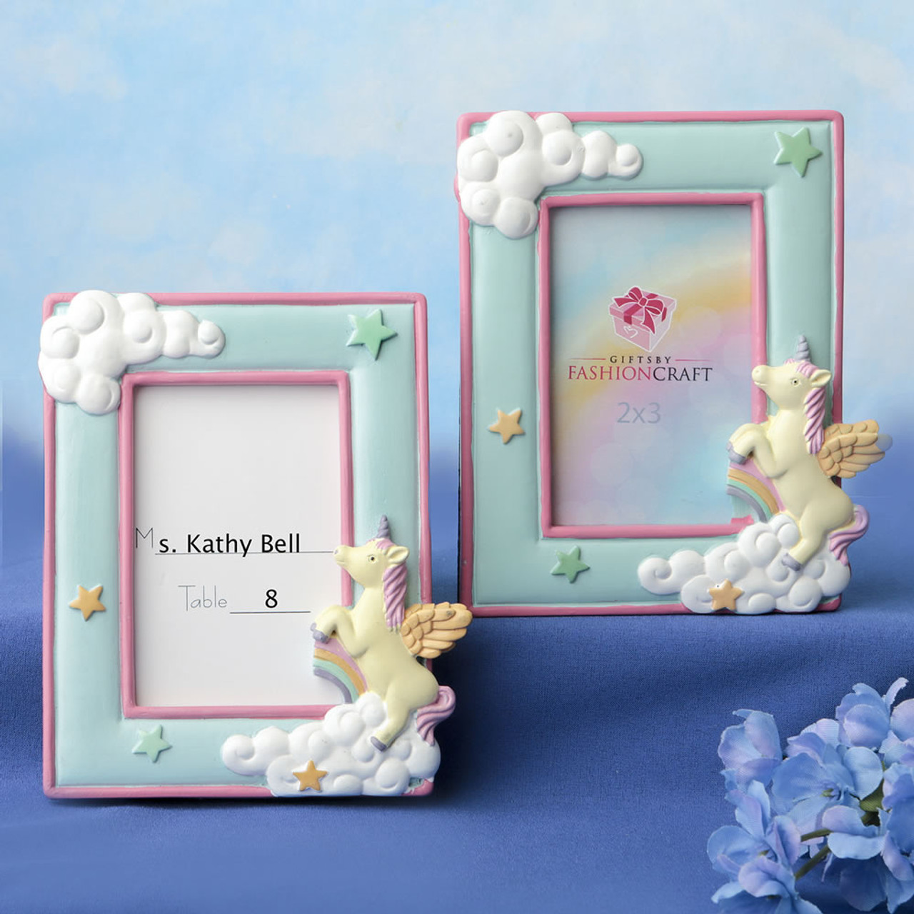 Baby Photo Frame with Bow for Pictures 2 x 3 Blue