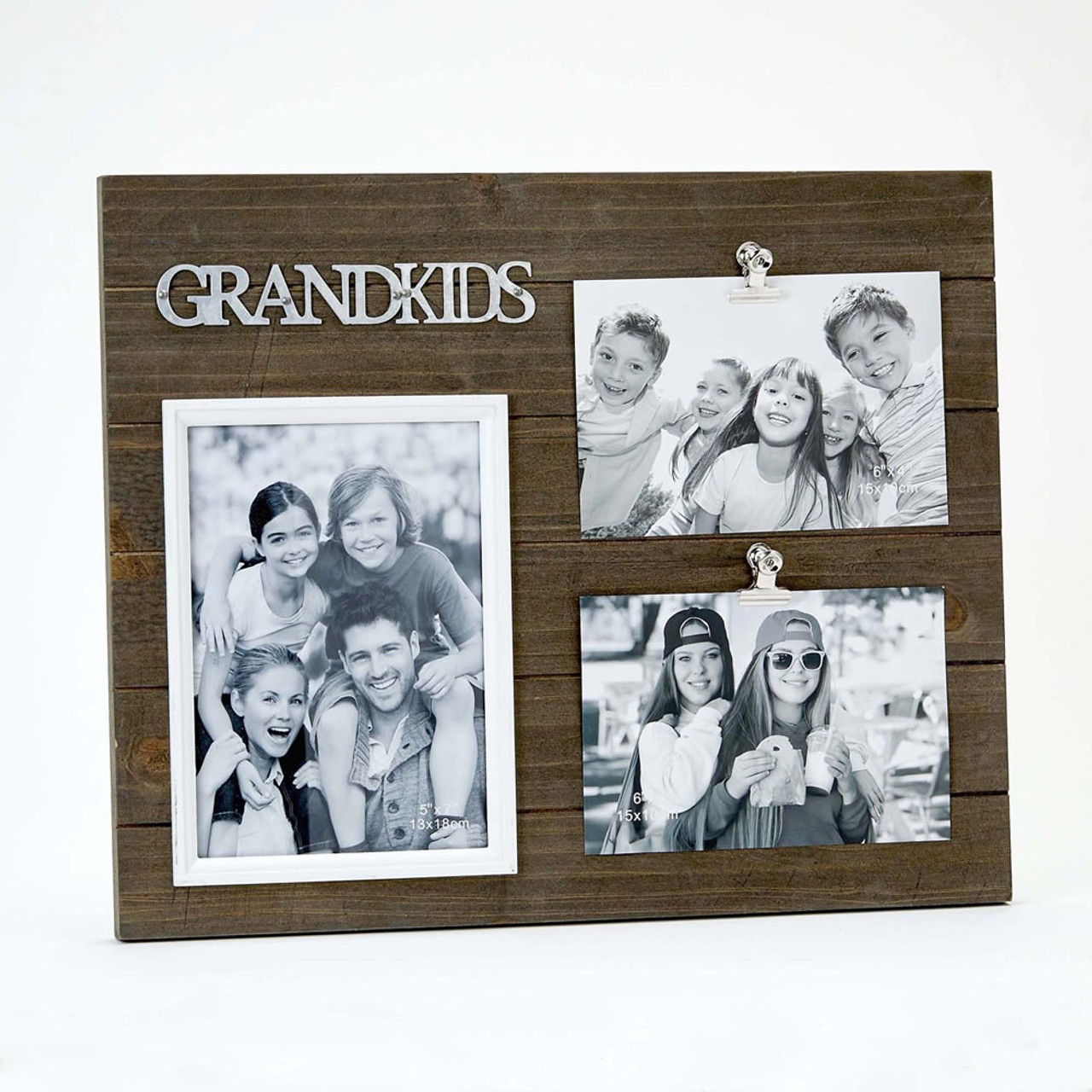 Triple Photo Grandkids Wood Frame One 5X7 And Two 4X6 Photos