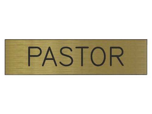 ENGRAVED SIGN PASTOR ADHESIVE BACK GOLD