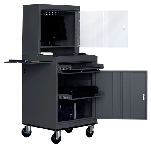 Mobile Computer Security Workstation w/slide out shelf and work surface