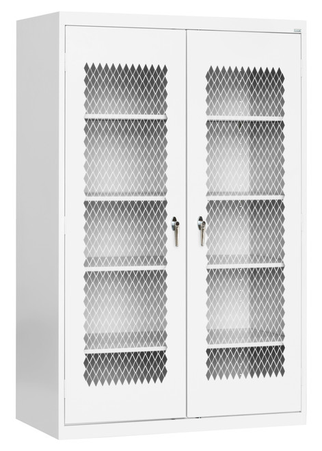 Metal Front Cabinet w/four shelves and bottom shelf