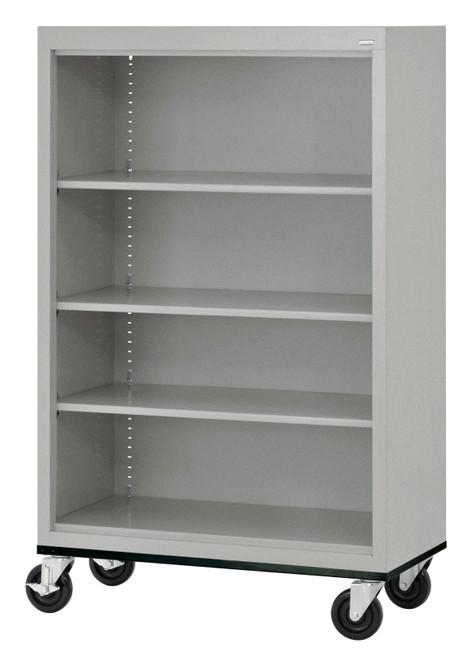 Mobile Bookcase w/three shelves & bottom shelf