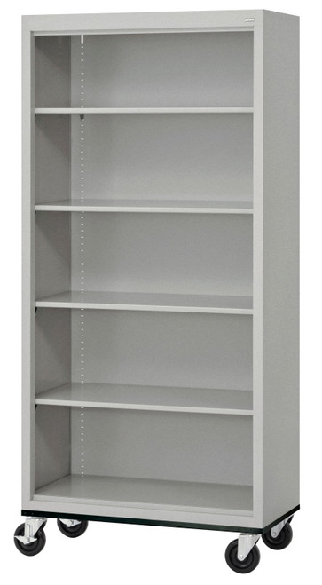 Mobile Bookcase w/four shelves & bottom shelf