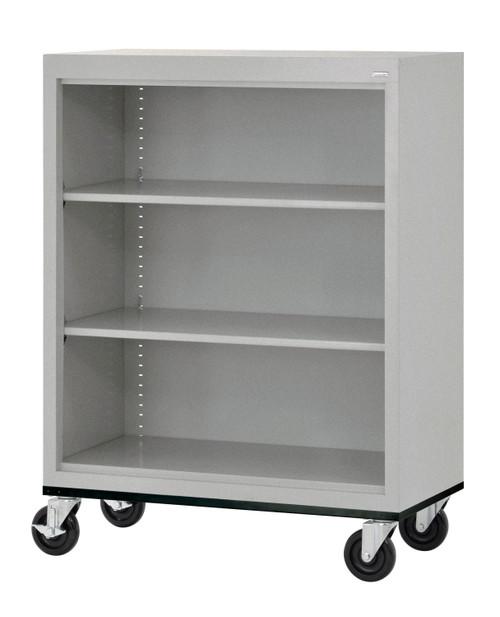 Mobile Bookcase w/two shelves & bottom shelf