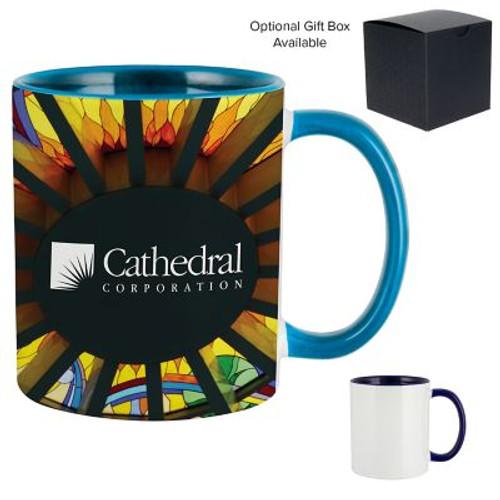 11 Oz Dye Sublimated Mug W/ Colored Inner & Handle
