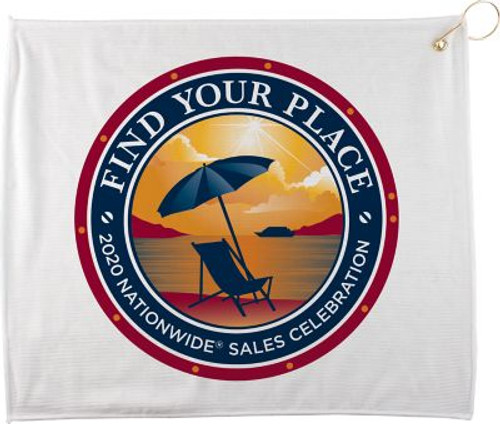 "15"" X 18"" Full Color Polyester White Golf Towel"