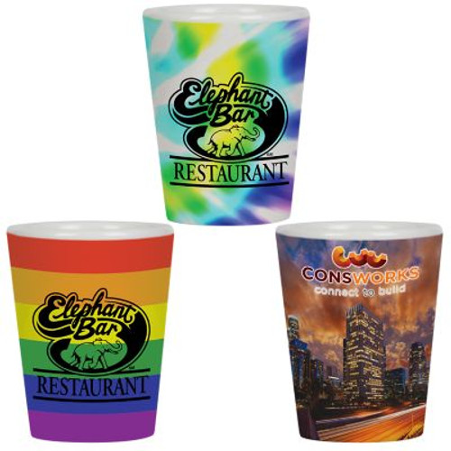 1.5 Oz Full Color Collector Cup Ceramic Shot Glass