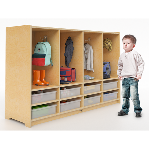 Toddler 8 Section Coat Locker With Trays