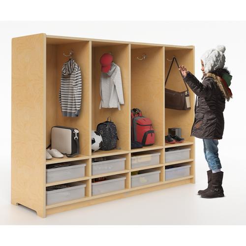 Preschool 8 Section Coat Locker w/Trays