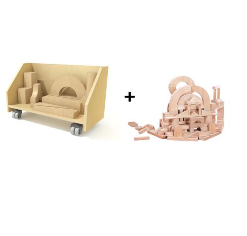 Block Cart & 75 Pc Building Block Set